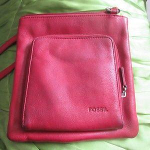 Fossil Leather Burgandy Shoulder Strap Bag Handbag